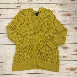 Ann Taylor Mustard open knit  Cotton Cardigan